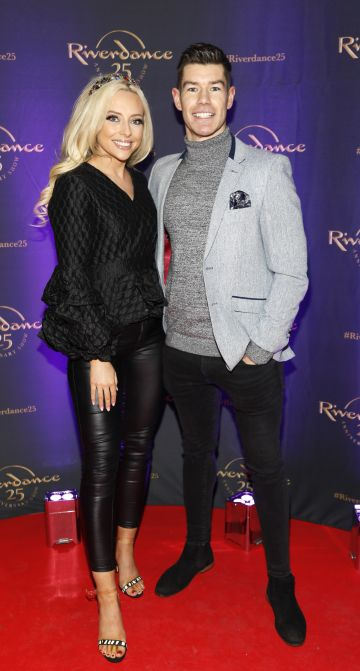 Michaela O'Neill and Ryan Andrews at the historic gala performance of Riverdance 25th Anniversary show at 3Arena Dublin exactly 25 years to the day that Riverdance was first performed at the Point Depot.  Photo: Kieran Harnett