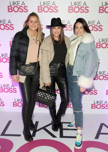 Katie Jackson, Suzanne Jackson and Carla Jackson at the special preview screening of Like A Boss at the Lighthouse Cinema, Dublin. Pic: Brian McEvoy