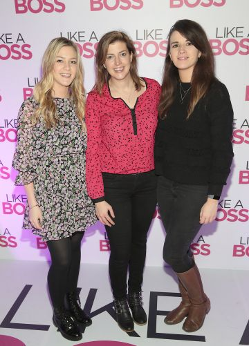 Claire Nealon, Jamie Tucciarone and Aoife Fallon at the special preview screening of Like A Boss at the Lighthouse Cinema, Dublin. Pic: Brian McEvoy