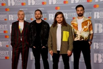 (L to R) Dan Smith, Will Farquarson, Chris Wood and Kyle J Simmons of Bastille attend The BRIT Awards 2020 at The O2 Arena on February 18, 2020 in London, England. (Photo by Dave J Hogan/Getty Images)