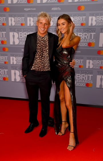 Jamie Laing and Sophie Habboo attend The BRIT Awards 2020 at The O2 Arena on February 18, 2020 in London, England. (Photo by Dave J Hogan/Getty Images)