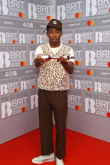 Tyler, The Creator, winner of the International Male Solo Artist award, poses in the winners room at The BRIT Awards 2020 at The O2 Arena on February 18, 2020 in London, England.  (Photo by David M. Benett/Dave Benett/Getty Images)