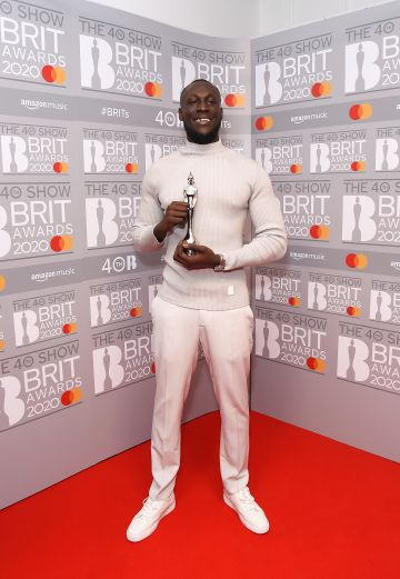 Stormzy, winner of Male Solo Artist, poses in the winners room at The BRIT Awards 2020 at The O2 Arena on February 18, 2020 in London, England.  (Photo by David M. Benett/Dave Benett/Getty Images)