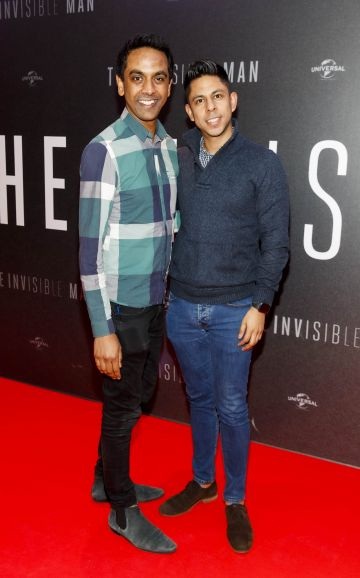 Clint Drieberg and Marco Espinoza pictured at a special preview screening of The Invisible Man at Light House Cinema, Dublin. Picture: Andres Poveda.
