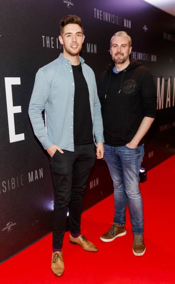 Peter Lynch and Brian Roche pictured at a special preview screening of The Invisible Man at Light House Cinema, Dublin. Picture: Andres Poveda.