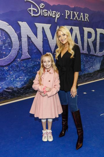 Kerri Nicole Blanc and daughter Kayla (8) pictured at the special preview screening of Disney Pixar's Onwards in the Odeon Point Village.  Picture: Andres Poveda