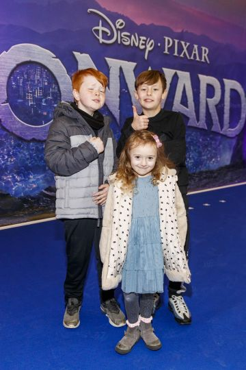 Harry Nolan (10), Felix Kehoe (10) and Azuere Kehoe (5) pictured at the special preview screening of Disney Pixar's Onwards in the Odeon Point Village.  Picture: Andres Poveda