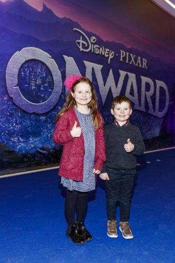 Cara (6) and Ted Clinton (4) from Meath pictured at the special preview screening of Disney Pixar's Onwards in the Odeon Point Village.  Picture: Andres Poveda