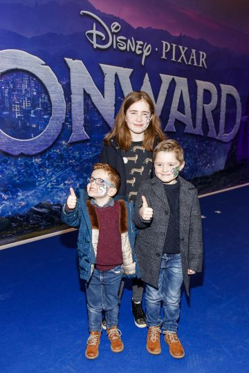 Cian O'Brien , Finn O'Brien and Sadhbh Finn pictured at the special preview screening of Disney Pixar's Onwards in the Odeon Point Village.  Picture: Andres Poveda