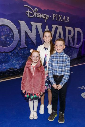 Ellie (6), Kate (12) and Mathew Mullens (10) from Galway pictured at the special preview screening of Disney Pixar's Onwards in the Odeon Point Village.  Picture: Andres Poveda