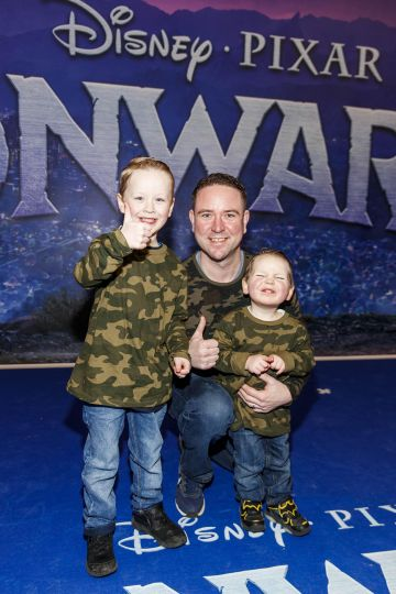 Leon Stafford with Blaze (6) and Maverick (3) pictured at the special preview screening of Disney Pixar's Onwards in the Odeon Point Village.  Picture: Andres Poveda