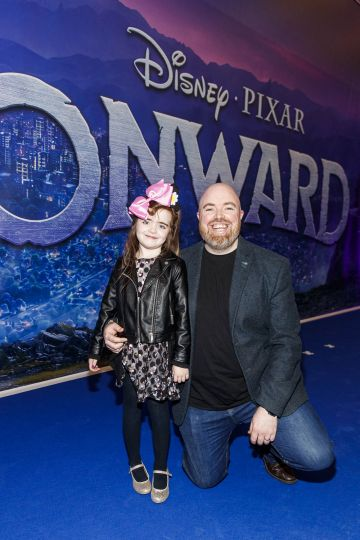 Olivia (6) and Philip Magee pictured at the special preview screening of Disney Pixar's Onwards in the Odeon Point Village.  Picture: Andres Poveda
