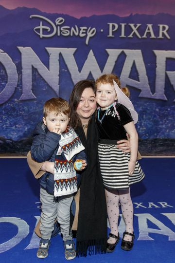 Bobby (3) Martha (5) and Catriona Murphy from Malahide pictured at the special preview screening of Disney Pixar's Onwards in the Odeon Point Village.  Picture: Andres Poveda