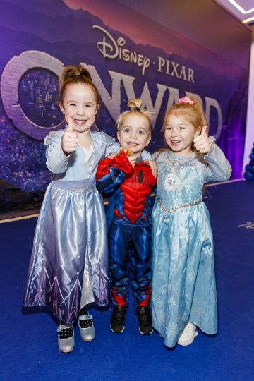 Amelia (5) and Jack O'Connor (3) and Lilly Hanney (5) from St Margaret's pictured at the special preview screening of Disney Pixar's Onwards in the Odeon Point Village.  Picture: Andres Poveda