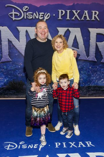 David and Lorraine Glynn with Leah (5) and Reis (3) pictured at the special preview screening of Disney Pixar's Onwards in the Odeon Point Village.  Picture: Andres Poveda