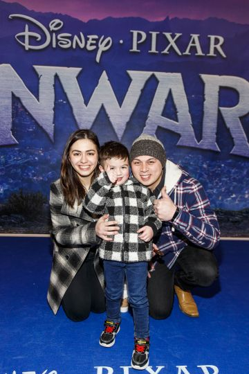 Kirsten Rice Topito Samung and Kayden Samsung (3) pictured at the special preview screening of Disney Pixar's Onwards in the Odeon Point Village.  Picture: Andres Poveda