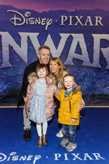 Brian Roach and Lisa Roach with Lexie (5) and Alex (3) pictured at the special preview screening of Disney Pixar's Onwards in the Odeon Point Village.  Picture: Andres Poveda
