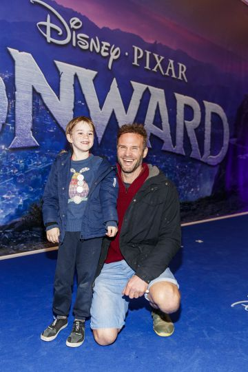 Theo and Stephen Flynn pictured at the special preview screening of Disney Pixar's Onwards in the Odeon Point Village.  Picture: Andres Poveda