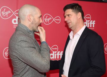 Richie Sadlier and Niall Quinn at the Virgin Media Dublin International Film Festival Irish Premiere screening of Street Leagues at Cineworld Dublin. Pic: Brian McEvoy Photography