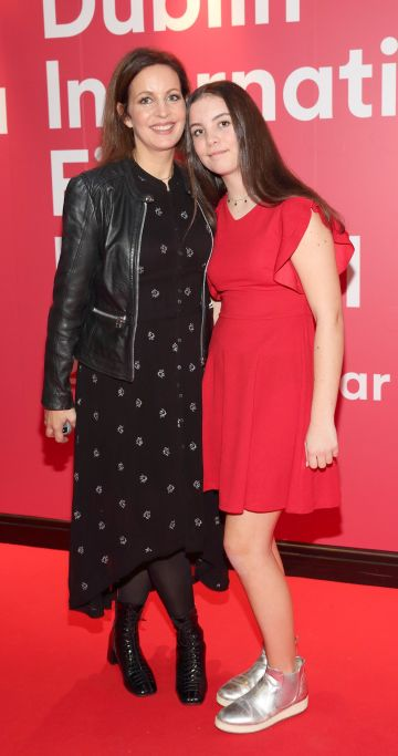 Maire Kearney and Joannie McGrath at the World Premiere of Citizens of Boomtown at the Virgin Media Dublin International Film Festival at Cineworld, Dublin. Pic: Brian McEvoy Photography.
