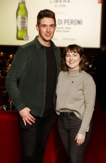 Peter Lynch and Natasha Finnegan at the launch of Cinema di Peroni, celebrating Italy in the movies, and the latest addition to its portfolio Peroni Libera 0.0%. Cinema di Peroni Dublin took place at The Stella Cinema in Rathmines, screening the award nominated The Talented Mr. Ripley. Picture: Andres Poveda