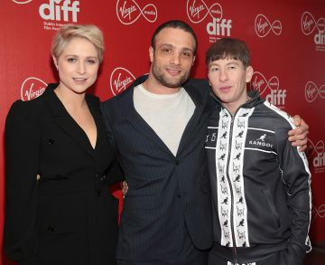Actors Niamh Algar, Cosmos Jarvis and Barry Keoghan at the Virgin Media Dublin International Film Festival Irish Premiere screening  of Calm With Horses at the Lighthouse Cinema, Dublin. Picture: Brian McEvoy.