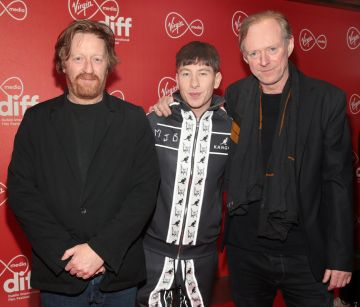 David Wilmot, Barry Keoghan and Ned Dennehy at the Virgin Media Dublin International Film Festival Irish Premiere screening  of Calm With Horses at the Lighthouse Cinema, Dublin. Picture: Brian McEvoy.