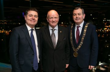Paul Carty (MD Guinness Storehouse), Paschal Donohoe (Minister for Finance) and Lord Mayor of Dublin Paul Mc Auliffe pictured at the launch of the highly anticipated new Gravity Bar at the Guinness Storehouse. Photo by Richie Stokes.