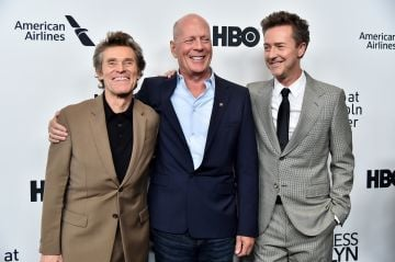 """2018: Co-stars Willem Dafoe, Bruce Willis, and Edward Norton attend the """"Motherless Brooklyn"""" Arrivals during the 57th New York Film Festival on October 11, 2019 in New York City. (Photo by Theo Wargo/Getty Images for Film at Lincoln Center)"""