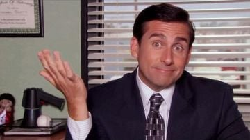 Steve Carell pictured as Michael Scott in NBC's The Office. @NBC All Rights Reserved.