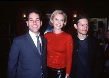 "1999: Paul Rudd, Charlize Theron And Tobey Maguire At The New York Premiere Of Their New Movie, ""The Cider House Rules"" November 14, 1999.  (Photo By Robin Platzer/Twin Images/Getty Images)"