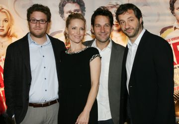 "2007: Co-stars Seth Rogen, Leslie Mann, Paul Rudd and Judd Apatow during ""Knocked Up"" Sydney Premiere - Arrivals at Hoyts Entertainment Quarter in Sydney, NSW, Australia. (Photo by John Stanton/WireImage)"