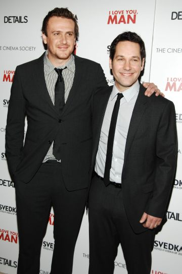 "2009: Jason Segel and Paul Rudd attend THE CINEMA SOCIETY with DETAILS & SVEDKA host a screening of ""I LOVE YOU, MAN"" at Tribeca Grand Hotel on March 6, 2009 in New York. (Photo by BILLY FARRELL/Patrick McMullan via Getty Images)"