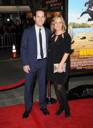 "2012: Actor Paul Rudd (L) and wife Julie Yaeger arrive at the premiere of Universal Pictures' ""Wanderlust"" held at Mann Village Theatre on February 16, 2012 in Westwood, California.  (Photo by Jason Merritt/Getty Images)"