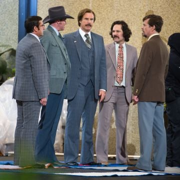 2013:  (L-R) Actors Steve Carell, David Koechner, Will Ferrell, Paul Rudd and Dylan Baker filming on location for 'Anchorman: The Legend Continues' on May 20, 2013 in New York City.  (Photo by Michael Stewart/WireImage)