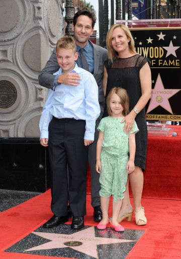 2015:  Actor Paul Rudd, wife Julie Yaeger, son Jack Rudd and daughter Darby Rudd attend the ceremony honoring Paul Rudd with a star on the Hollywood Walk of Fame on July 1, 2015 in Hollywood, California.  (Photo by Axelle/Bauer-Griffin/FilmMagic)