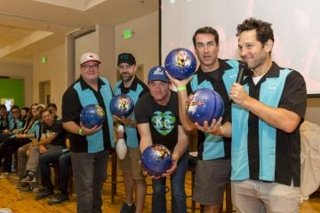 2017: Eric Stonestreet, Jason Sudeikis, David Koechner, Rob Riggle and Paul Rudd attend the 2017 Big Slick Celebrity Bowling at Pinstripes during the Big Slick Celebrity Weekend benefiting Children's Mercy Hospital of Kansas City on June 24, 2017 in Kansas City, Missouri. (Photo by Kyle Rivas/Getty Images)