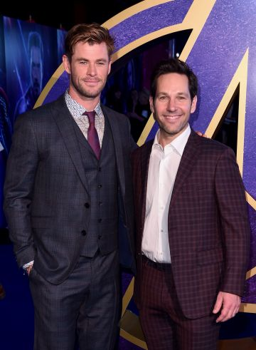 "2019:  (L-R)  Chris Hemsworth and Paul Rudd attend the UK Fan Event to celebrate the release of Marvel Studios' ""Avengers: Endgame"" at Picturehouse Central on April 10, 2019 in London, England. (Photo by Eamonn M. McCormack/Getty Images for Disney)"