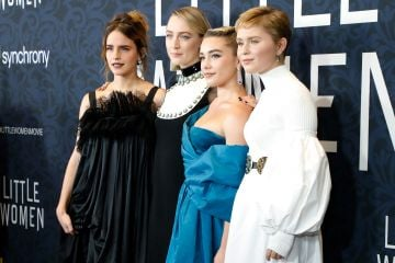 "Emma Watson, Saoirse Ronan, Florence Pugh, and Eliza Scanlen attend the world premiere of ""Little Women"" at Museum of Modern Art on December 07, 2019 in New York City. (Photo by Taylor Hill/WireImage,)"