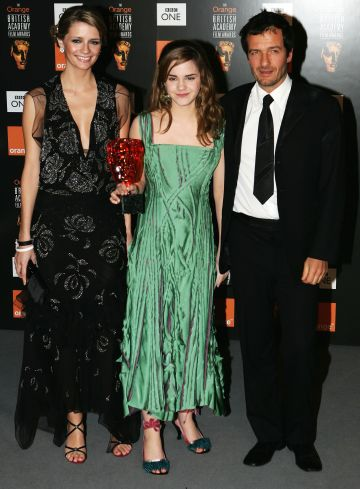 "Actress Emma Watson (C), with the award for Film of the Year - ""Harry Potter and the Prisoner of Azkaban,"" poses in the Awards Room with actress Mischa Barton (L) and producer David Heyman during the Orange British Academy Film Awards 2005 at the Odeon Leicester Square on February 12, 2005 in London.  (Photo by Gareth Cattermole/Getty Images)"
