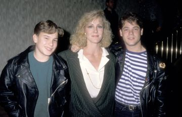 Johnny Galecki starred in his first film in 1987, playing the role of Matt in 'Time Out for Dad' when he was just 12 years old.  Pictured: Actors Johnny Galecki, Joanna Kerns, and David Gray attend the NBC Winter TCA Press Tour on January 10, 1990 at Registry Hotel in Los Angeles, California. (Photo by Ron Galella, Ltd/Ron Galella Collection via Getty Images)