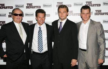 """2006:  (L to R) Actors Jack Nicholson, Mark Wahlberg, Leonardo DiCaprio and Matt Damon attend the Warner Bros. Pictures premiere of """"The Departed"""" at the Ziegfeld Theatre September 26, 2006 in New York City.  (Photo by Evan Agostini/Getty Images)"""