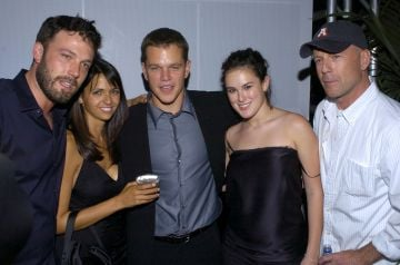 2004: Ben Affleck, Luciana Bozan, Matt Damon, Rumer Willis and Bruce Willis in at the world premiere of The Bourne Supremacy in Hollywood, California (Photo by Lester Cohen/WireImage)