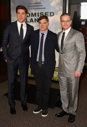 """2012: Actor John Krasinski, director Gus Van Sant and actor Matt Damon arrive to the premiere of Focus Features' """"Promised Land"""" at the Directors Guild Of America on December 6, 2012 in Los Angeles, California.  (Photo by Alberto E. Rodriguez/Getty Images)"""