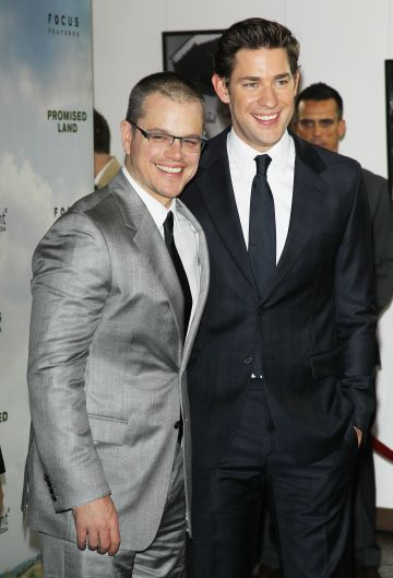 "2012: Matt Damon (L) and John Krasinski arrive at the Los Angeles premiere of ""Promised Land"" held at Directors Guild Of America on December 6, 2012 in Los Angeles, California.  (Photo by Michael Tran/FilmMagic)"