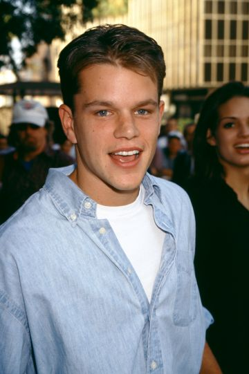 """1996: American actor Matt Damon arrives for the """"Courage Under Fire"""" Los Angeles Premiere at The Academy of Motion Picture Arts and Sciences on July 8, 1996 in Beverly Hills, California.  (Photo by Ron Davis/Getty Images)"""