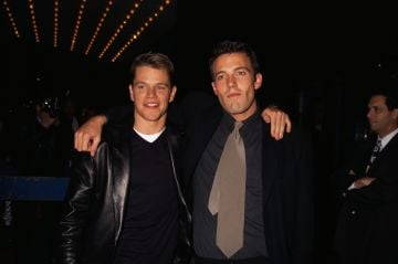 """1997: Matt Damon and Ben Affleck at the premiere of """"Good Will Hunting"""" at the Ziegfeld Theater.   (Photo by Mitchell Gerber/Corbis/VCG via Getty Images)"""