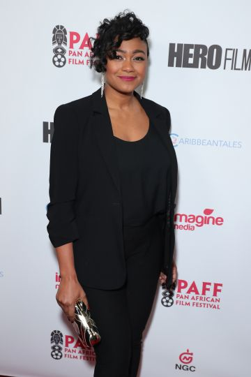 """2020: Tatyana Ali attends 28th Annual Pan African Film and Arts Festival - Opening Night premiere of """"HERO"""" at Directors Guild Of America on February 11, 2020 in Los Angeles, California. (Photo by Leon Bennett/Getty Images)"""
