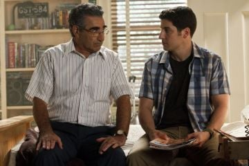 The awkward and geeky Noah Levenstein (played by Eugene Levy) serves as a mentor to son Jim and his friends throughout the American Pie film series. @Universal Pictures. All Rights Reserved.