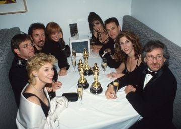 1994: Kate Capshaw, Elton John, and Bruce Springsteen, Patti Scialfa, Tom Hanks, Rita Wilson and Steven Spielberg at the Elton John AIDS Foundation Party, following the 66th Annual Academy Awards in Los Angeles. (Photo by Kevin Mazur Archive 1/WireImage)
